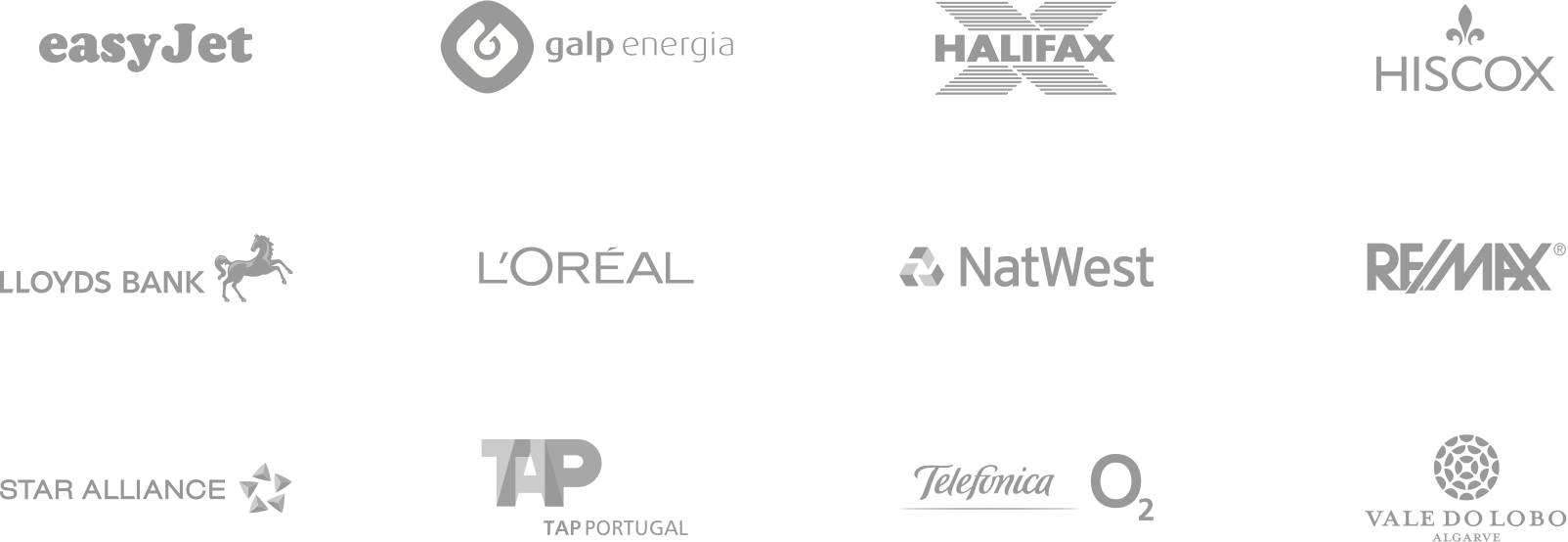 easyJet, Galp Energia, Halifax Bank, Hiscox, Lloyds Bank, L'Oréal, Mondelez, NatWest Bank, Remax, Star Alliance, Telefónica O2, Vale do Lobo
